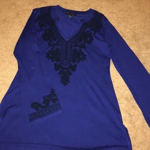 Royal Blue INC Embroidered Top